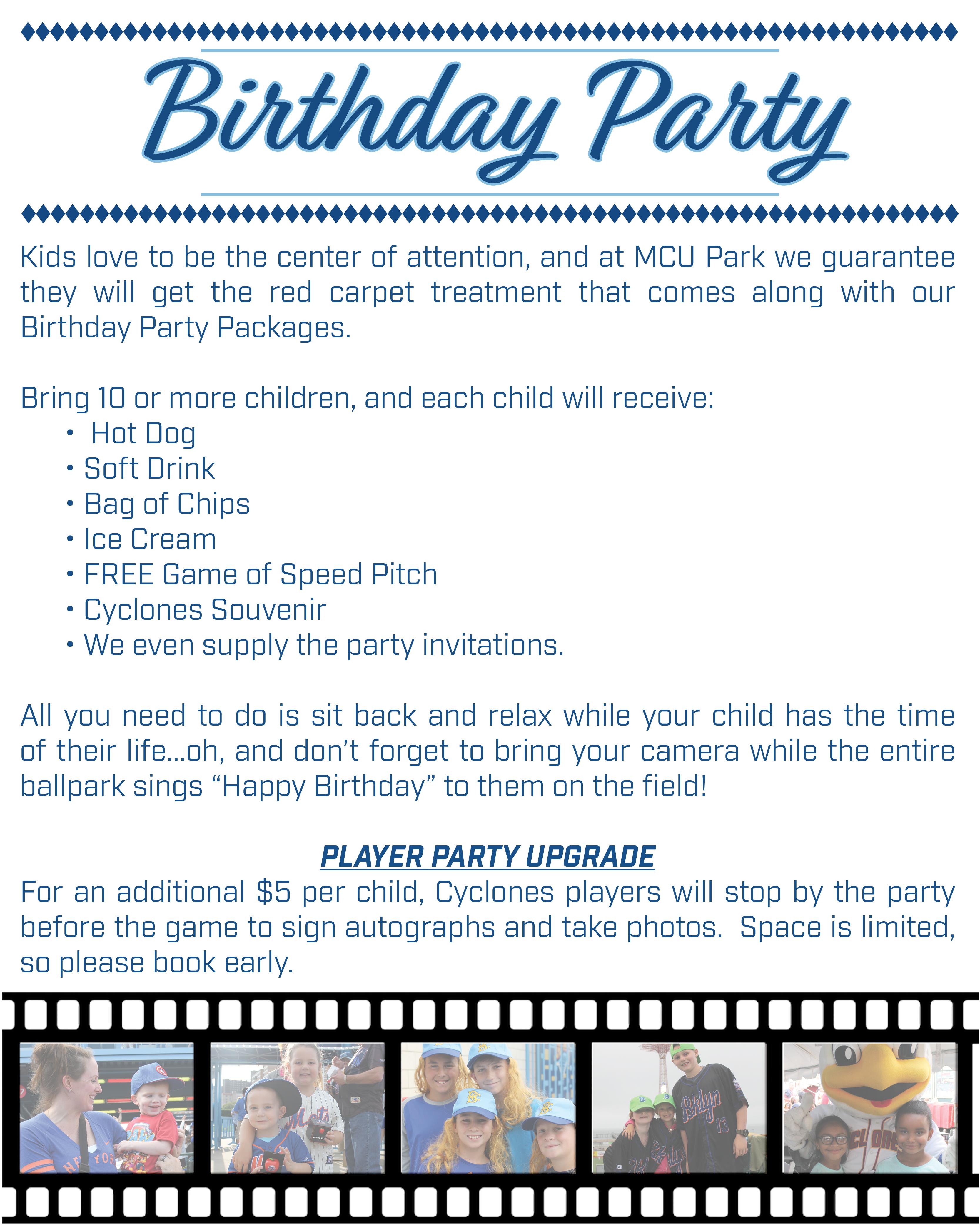 brooklyncyclones.com: Birthday Parties