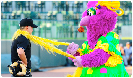 REGGY THE PURPLE PARTY DUDE AT MCU PARK